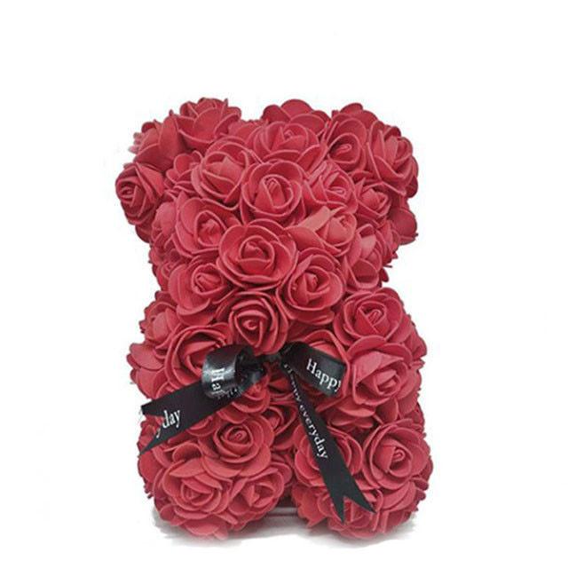 Красивый мишка из латексных 3D роз 40 см в подарочной коробке | Бордо