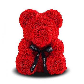 Красивый мишка из латексных 3D роз 25 см в подарочной коробке | Красный