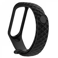 Ремешок для фитнес браслета Xiaomi Mi Band 3 Silicone Rhomb Design (Black)