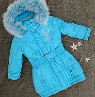 Детская удлиненная зимняя куртка на девочку Kiko р. 116, 128 голубая, фото 1