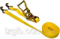 Багажная лента, 2 крюка, с трещоткой 2 крюки 2т/35мм х 6м