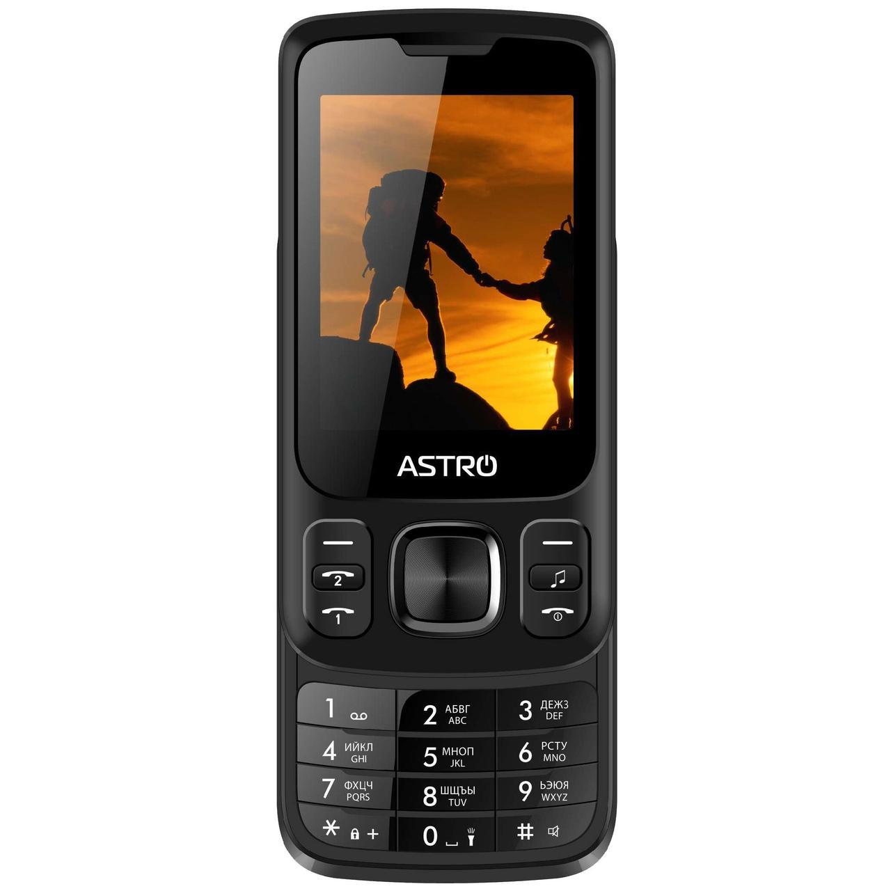 Кнопочный мобильный телефон слайдер на 2 сим карты Astro A225 черный