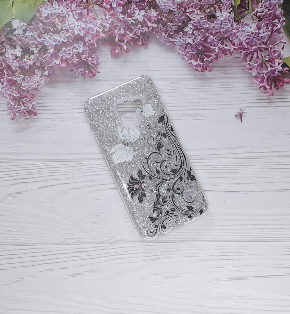Чехол накладка Glitter Flowers на Samsung A8 (2018), Silver