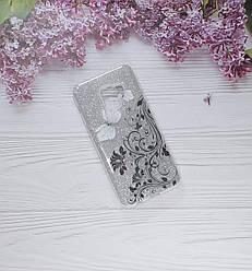 Чохол накладка Glitter Flowers на Samsung A8 (2018), Silver