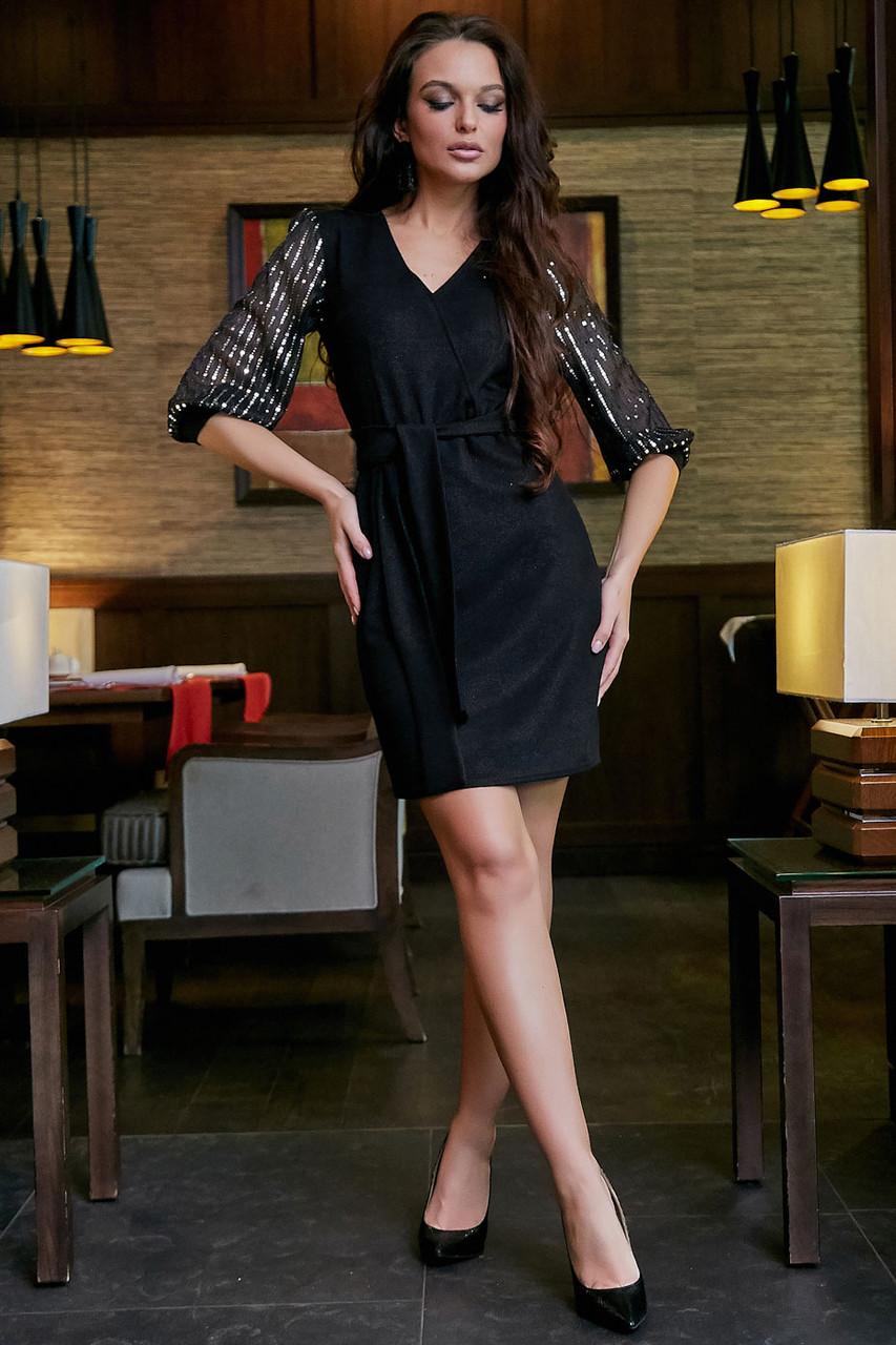 Нарядное платье на запах с люрексом 42-48 размера черное, фото 1