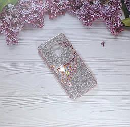 Чохол накладка Glitter Flowers на Samsung A8 (2018), Pink