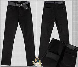 Джинсы женские утеплённые прямые с высокой посадкой чёрного цвета DMD
