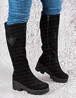 Женские зимние сапоги кожаные замшевые черные на платформе (код:И-Г-замш)