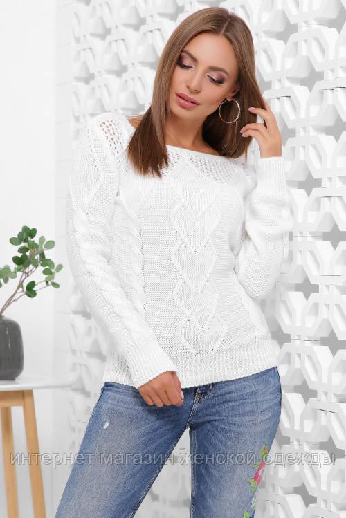 Женский свитер красивой вязки теплый белого цвета размер 44-50