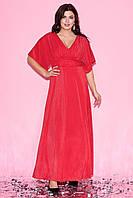 Вечернее платье макси красного цвета с коротким рукавом-кимоно. Модель 23251. Размеры 50-60