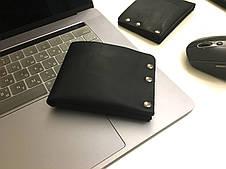 Мужской кошелек кожаный Goose™ G0043 черный (ручной работы), фото 2