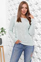 Женский свитер красивой вязки теплый мятного цвета размер 44-50