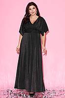 Вечернее платье макси черного цвета с коротким рукавом-кимоно. Модель 23237. Размеры 50-60