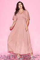 Вечернее платье макси розового цвета с коротким рукавом-кимоно. Модель 23263. Размеры 50-60