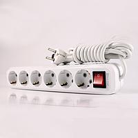 Удлинитель 6 гнезда с кнопкой, длина 5м с заземлением ElectroHouse Белый [11233-09]