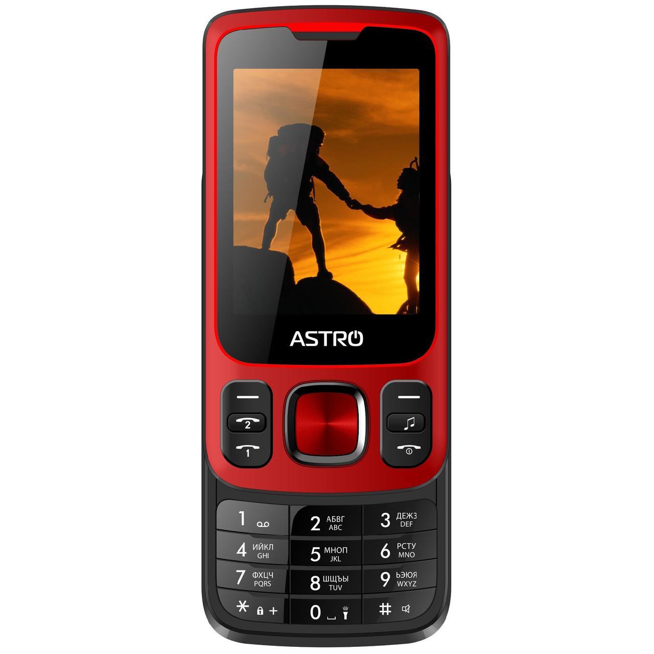 Кнопочный мобильный телефон слайдер на 2 сим карты Astro A225 красный