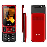 Кнопковий мобільний телефон слайдер на 2 сім карти Astro A225 червоний, фото 3