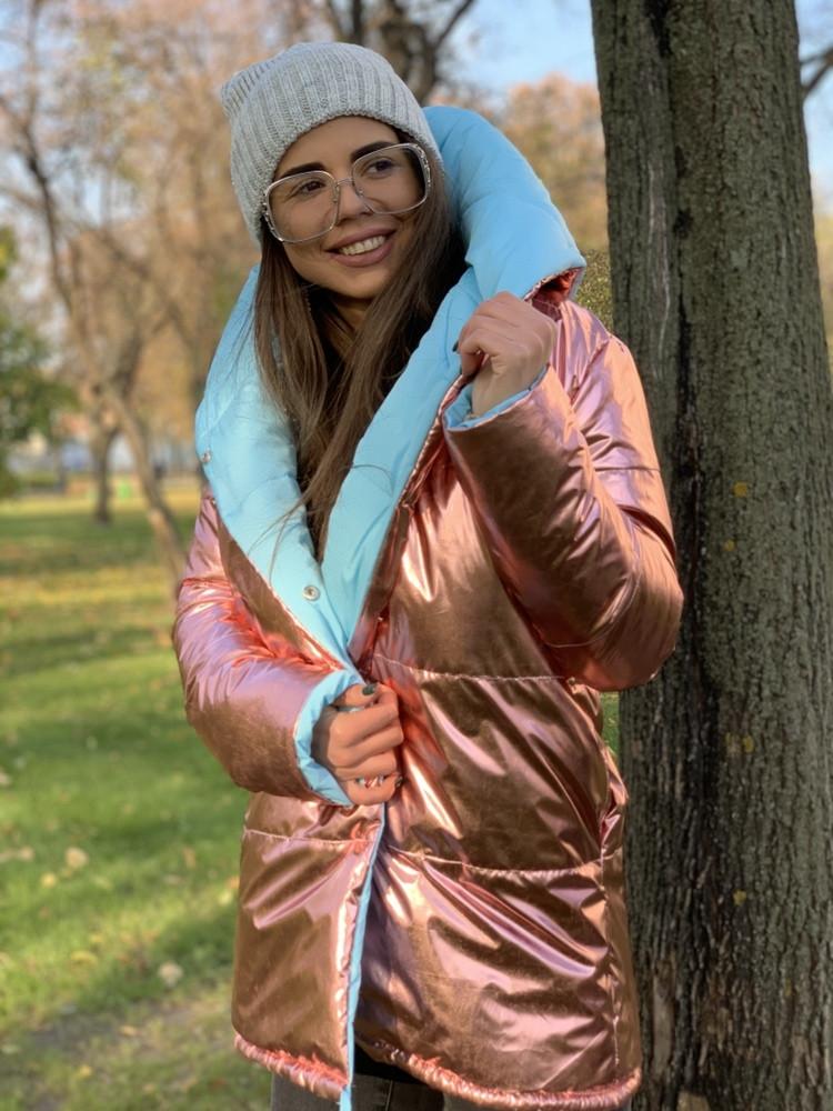 """Модная двухсторонняя куртка с капюшоном """" Зефирка """", в расцветках"""