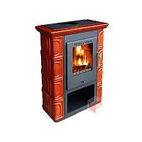 Кафельная печь на дровах BORGHOLM - Каштановая  ( Каминофен, изразцовая печь )