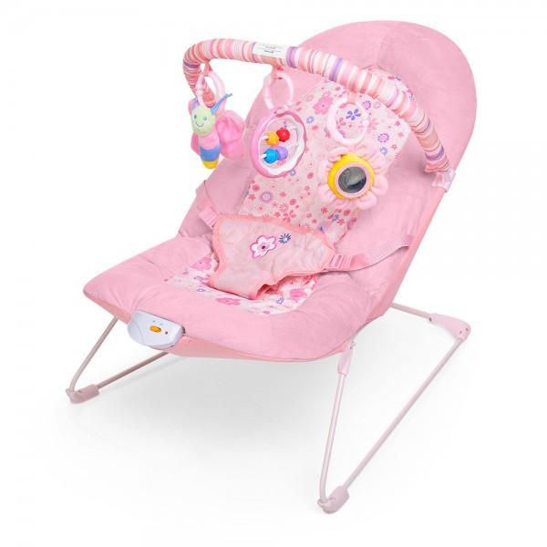 Детский шезлонг-качалка розовый