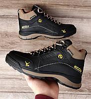 Мужские зимние ботинки Ecco YAK Black Brown. Натуральная кожа и мех.
