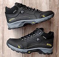 Мужские зимние ботинки Ecco YAK Black Yellow. Натуральная кожа и мех.