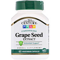 "Экстракт виноградных косточек, 21st Century ""Standardized Grape Seed Extract"" (60 капсул)"