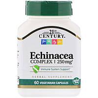 """Эхинацея, 21st Century """"Echinacea Complex"""" поддержка иммунной системы, 250 мг (60 капсул)"""