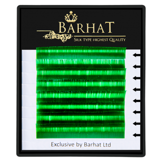 Ресницы для наращивания Barhat (Зеленые) 0,1 В (растяжка 9-12)