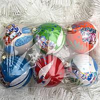 Новогодние елочные шары набор 6 шт 8 см
