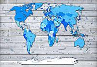 Фотообои флизелиновые 3D 312x219 см Карта мира на фоне досок (CN10868)