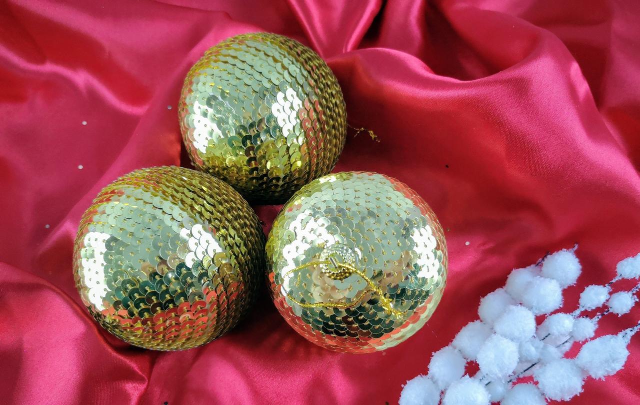Новогодняя игрушка Шар с золотистыми паетками 8 см ЦЕНА за 1 шт/ 92142-PN Pioner