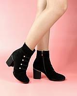 Женские ботинки 615-6140-1/0 MORENTO (черные, натуральная замша, байка, весна/осень)