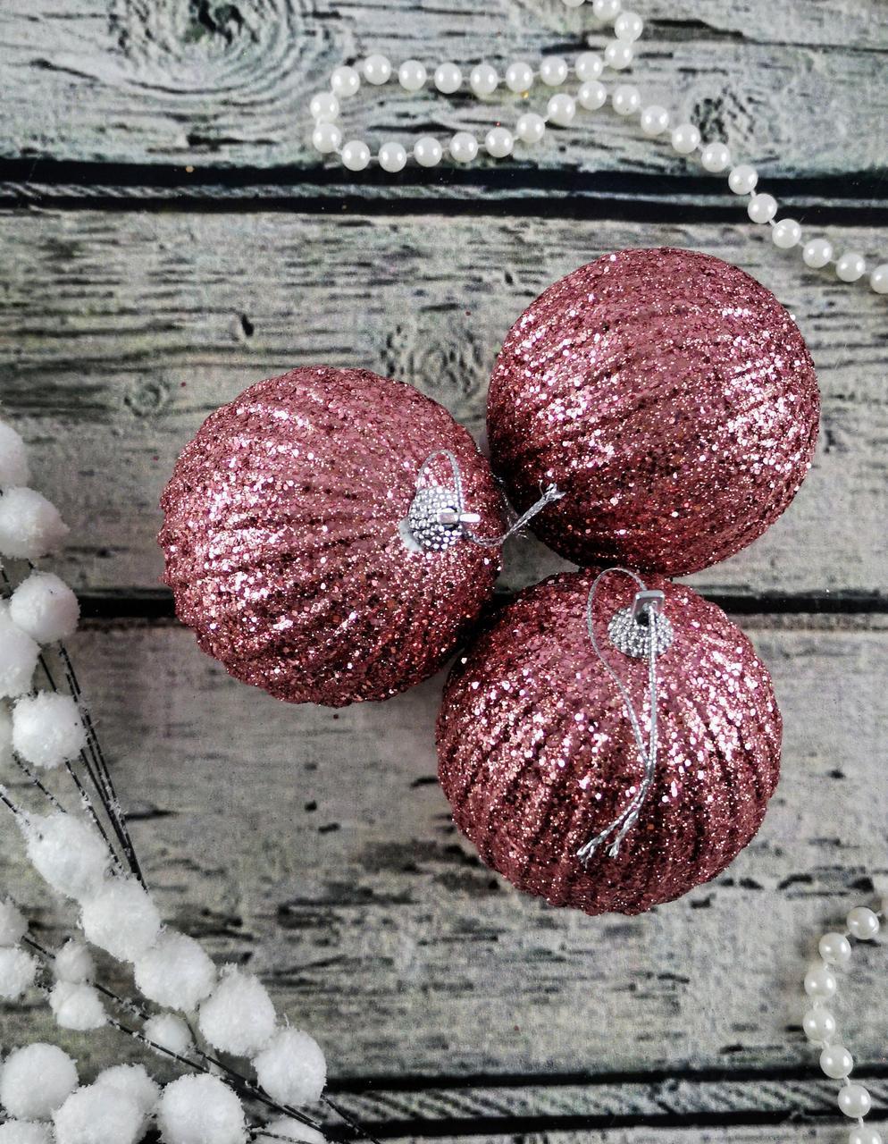 Новогодняя игрушка Шар розовый с блестками 8 см ЦЕНА за 1 шт. 92081-PN Pioner