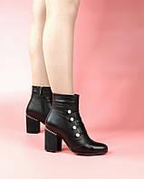 Женские ботинки 615-6140-1/0 MORENTO (черные, натуральная кожа, байка, весна/осень)