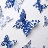 3D метелики з візерунком, інтер'єрні, для декору (038421), фото 2