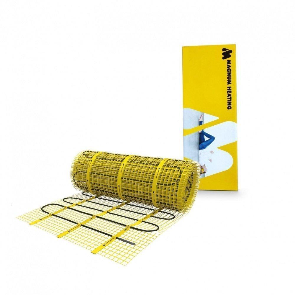 Тонкий нагревательный мат MAGNUM / 5 м² / 750 Вт / электропол под плитку / греющий кабельный мат