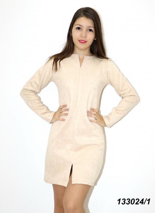 Платье с длинным рукавом, замшевое 42 44 46