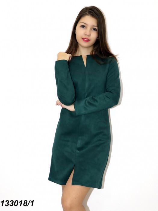 Платье зеленое с длинным рукавом, замшевое 42 44 46