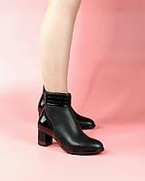 Женские ботинки A005-4199/0 MORENTO (черные, натуральная кожа, лак, байка, весна/осень)