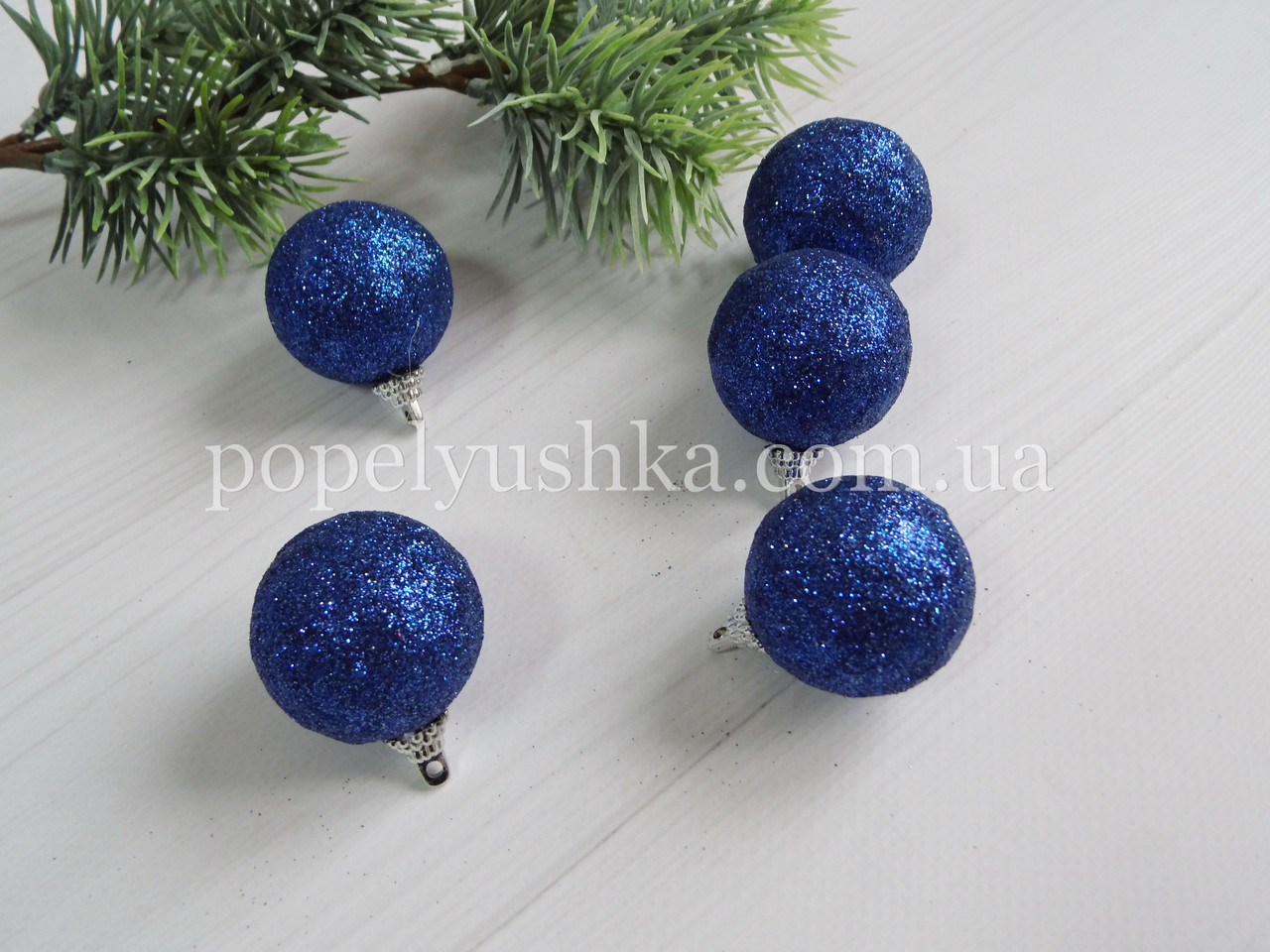 Шарик новогодний в Глиттере 4 см синий