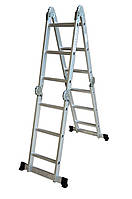 Лестница алюминиевая трансформер 4 ступеньки х 4 секции (Н 4,75м; 14кг)