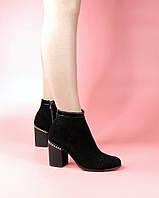 Женские ботинки 615-6201-1/0 MORENTO (черные, натуральная замша, байка, весна/осень)