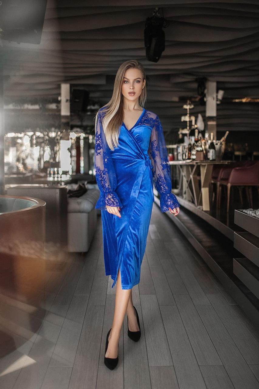 Сукня міді оксамит на запах в кольорах 165092