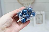 Новорічні пластм. кульки 2 см *12шт сині