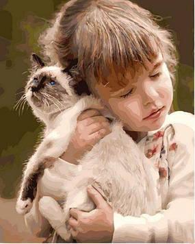 Картина по номерам 40×50 см. Mariposa Девочка с кошкой (Q 2150)