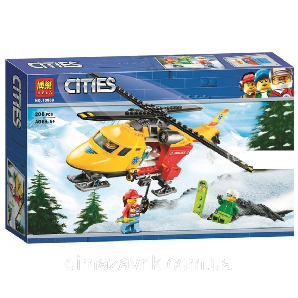 """Конструктор Bela 10868 (Аналог Lego City 60179) """"Вертолёт скорой помощи"""" 208 деталей"""