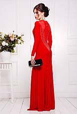 Нарядное длинное платье с глубоким декольте и вырезом на спине, в расцветках, р.42-50, фото 3