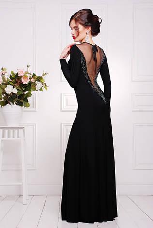 Нарядное длинное платье с глубоким декольте и вырезом на спине, в расцветках, р.42-50, фото 2