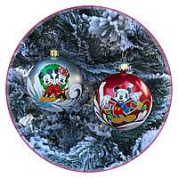 """Новогодний елочный шар """"Мышка символ года"""" 80мм"""